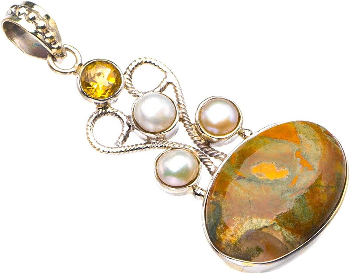 Natural Jasper,River Pearl And Citrine Handmade 925 Sterling Silver Pendant 2 D2351