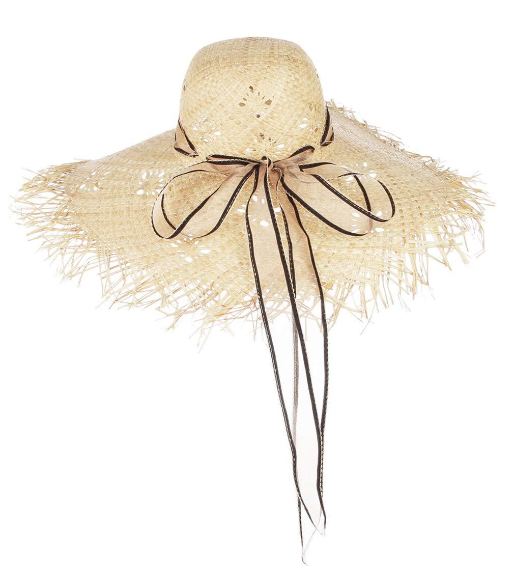DEMU Sonnenhut Damen Strohhut UV Schutz Strandhut Elegant Sommerhut mit gro/ß krempe f/ür Sandstrand Urlaub