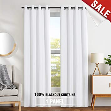 Amazoncom Blackout Curtains White 63 Inches Bedroom Drapes Thermal