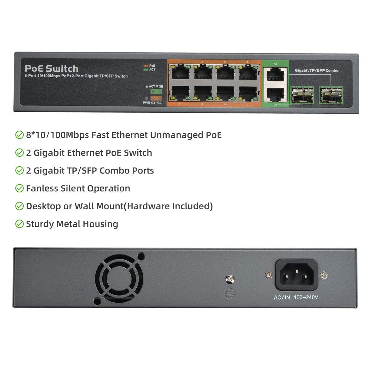 Metal Plug & Play 802.3af/at PoE+ 100Mbps MokerLink 8 Port PoE ...