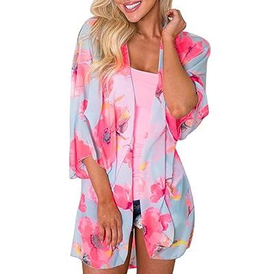ADESHOP Sept Manches Floral Impression Cardigan Chemisier FEITONG Femmes En Mousseline De Soie Kimono Cardigans Blouse LâChe DéContractéE Respirant Cool Kimono