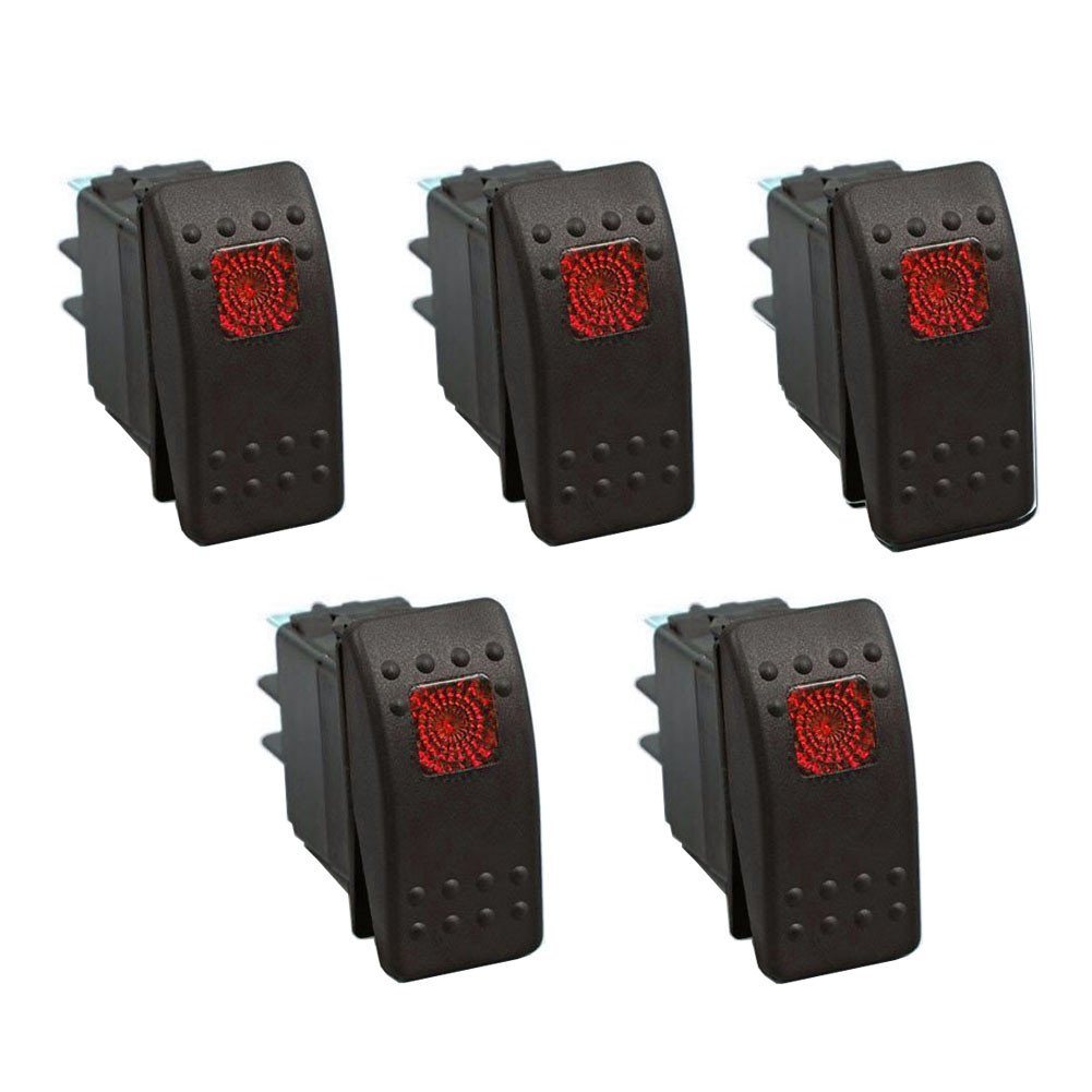 XT AUTO 12V 20 Amp 3pins Blue Light Rocker Switch Kit 3-pack