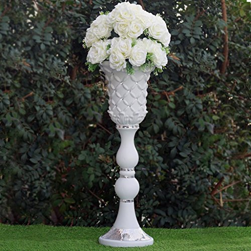 BalsaCircle 4 pcs 31'' tall White Vases with Crystal Beads for Wedding Party Flowers Centerpieces Home Decorations Cheap Supplies by BalsaCircle