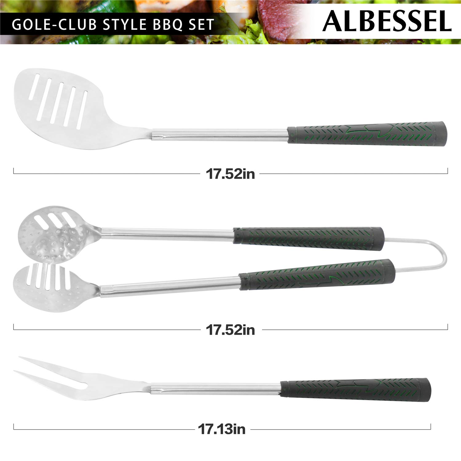 Albessel 6 Pieces Golf-Club Style BBQ Grill Tools Set with Golf-Club Style Bag – Stainless Steel Barbecue Accessories Utensils Kit with Heatproof Grips, for Outdoor, Camping, Party
