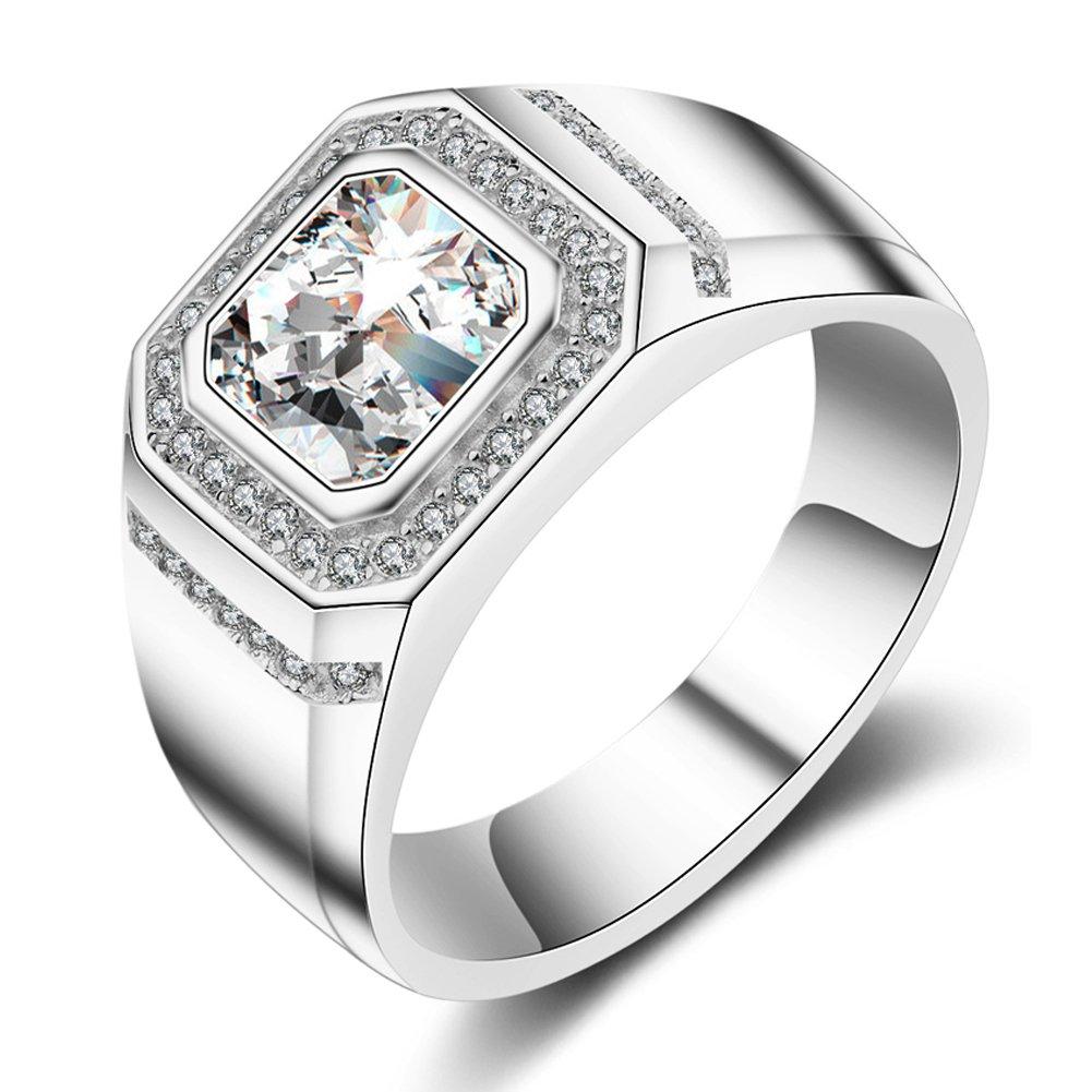 ENYU Uomo Argento Anelli Princess Cubica Zircone Tono -Anniversario di Matrimonio perfetto anello di fidanzamento R01-9-M