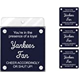 Tree-Free Greetings NC38095 Yankees Baseball Fan 4-Pack Artful Coaster Set