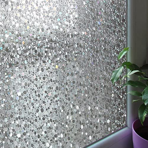 Leyden 2 Roll 24-by-72-Inch Cut Glass Cobble Pattern No-Glue 3D Static Decorative Glass Window Films Multi