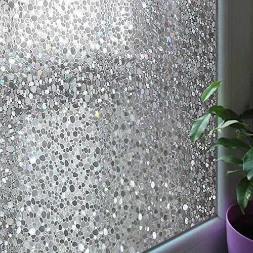 Film Roll Wide 24 (Leyden 2 Roll 24-by-72-Inch Cut Glass Cobble Pattern No-Glue 3D Static Decorative Glass Window Films Multi)