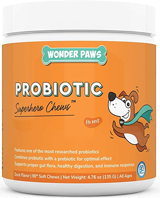 Wonder Paws Probiotics for Dogs – Daily Probiotic Supports Gut Health, Digestion, Gas, Bloating, Constipation, Stomach Relief & Immune Support - With Natural Probiotic & Prebiotic – 90 Probiotic Chews