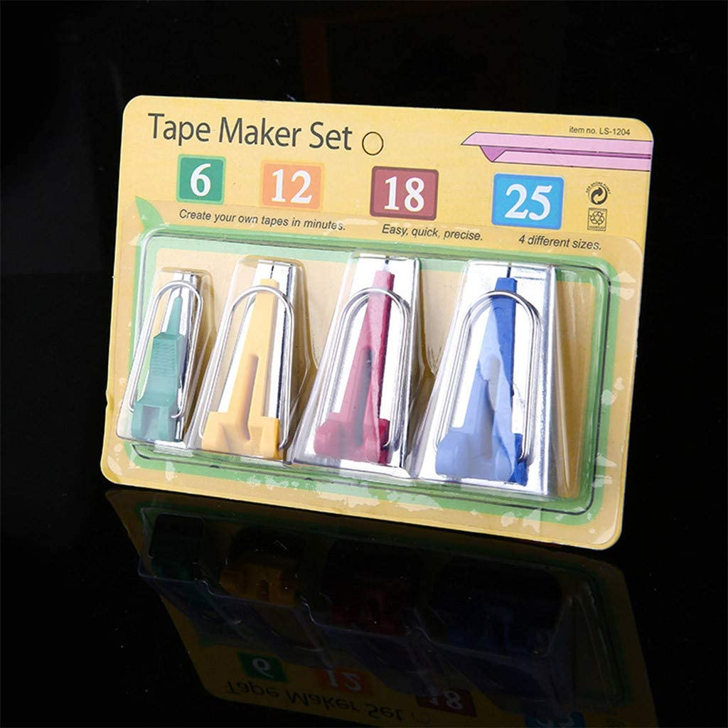 Shusuen⭐ 2020 New Set of 4 Size Fabric Bias Tape Maker Tool Sewing Quilting 6mm 12mm 18mm 25mm Set