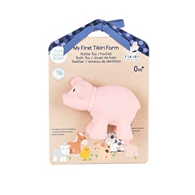 Tikiri My First Farm Animal Pig Natural Rubber Rattle (Pink): Toys & Games