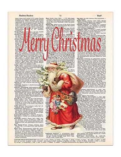 Vintage Santa Claus Christmas Dictionary Page Art Print, 8x11 UNFRAMED