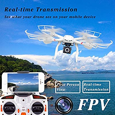 R RECOMFIT X101 FPV Quadcopter Drone Bundle Pack With HD Live Camera Wi-Fi Real Time Transmission RC Helicopter (Extra: 7.4V 1200mAh battery, Explosion-proof Battery Safe Bag, Voltage Checker) White by Goldenwide