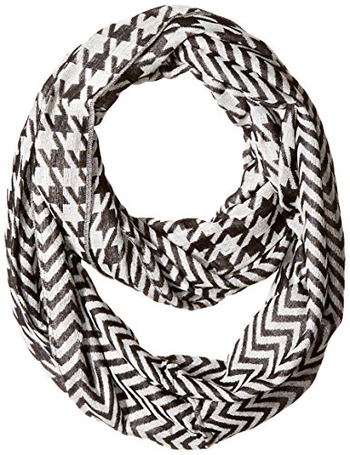 D&Y Women's Houndstooth Loop Scarf with Zig Zag Pattern, Black, One Size