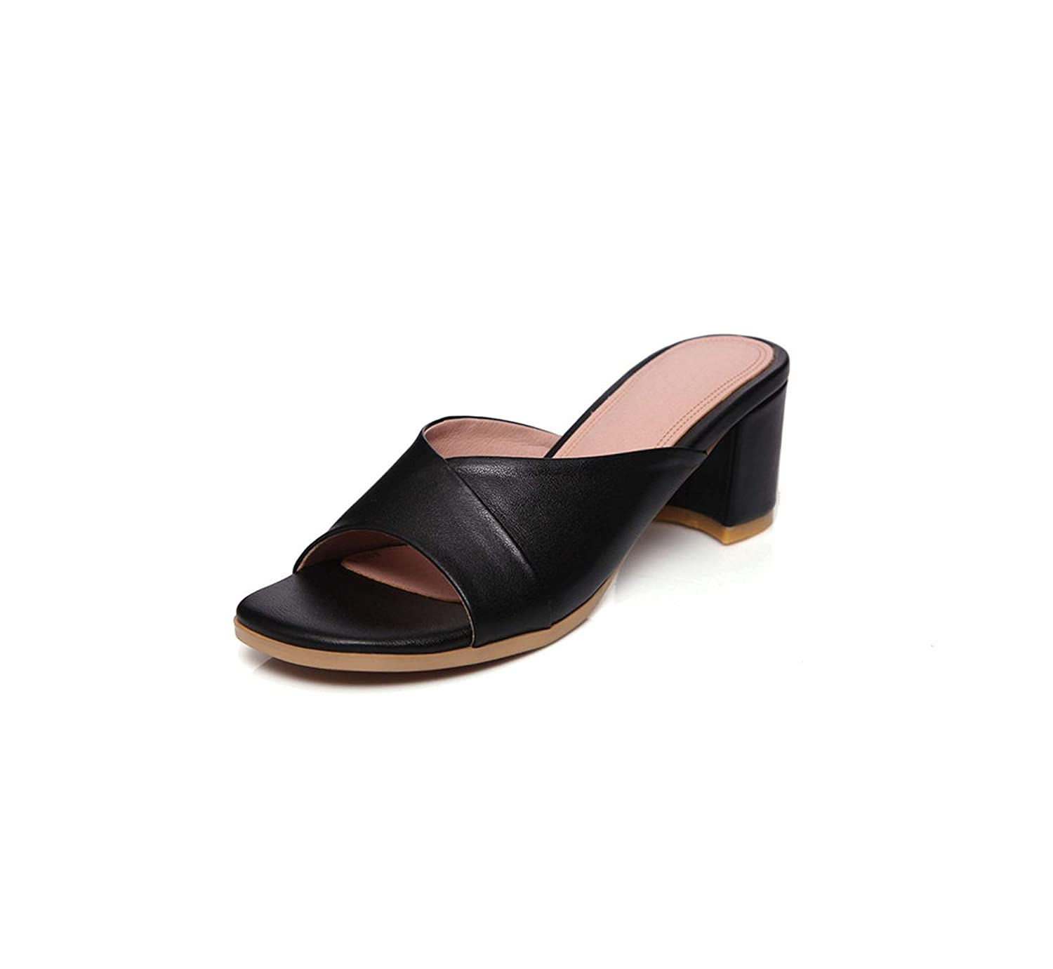 Black Longbao Black Red Genuine Leather Summer Slippers Comfort High Heeled Sandals Female New shoes Woman