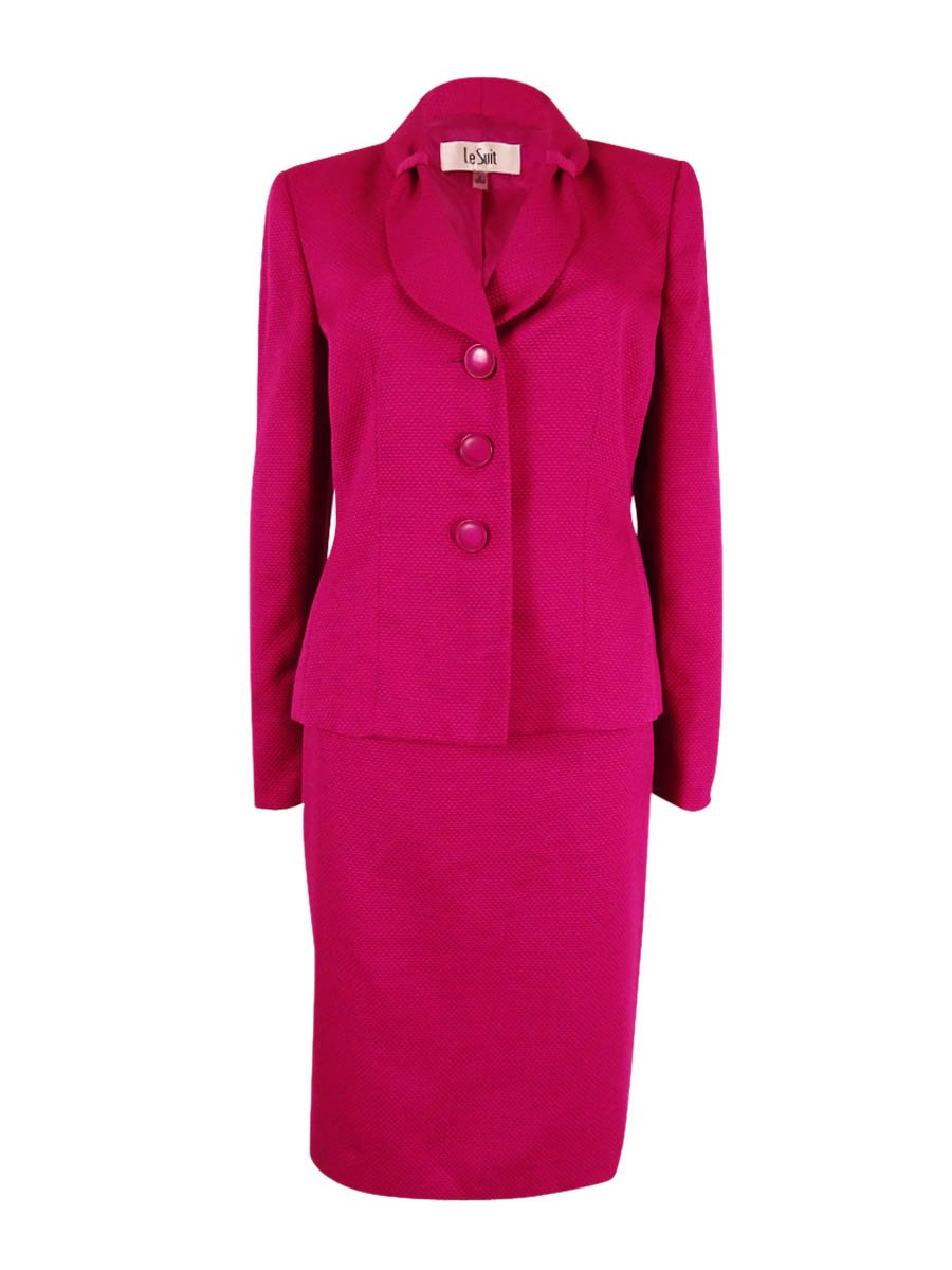 Le Suit Women's Pique 3 Button Jacket Skirt Suit, Fuchsia, 12 by Le Suit