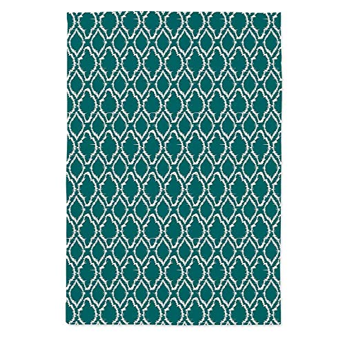 Teal Fashionable Tablecloth,Traditional Ikat Style Pattern with Abstract Curves Oval Shapes Moroccan Inspiration for Secretaire Square Table Office Table,60''W X 84''L
