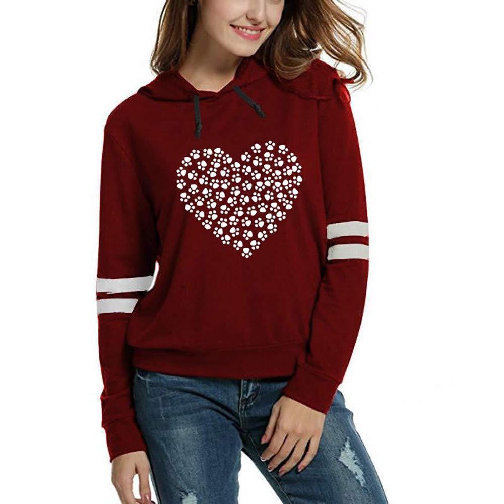BOLUOYI Womens Fashion Print Long Sleeve Hooded Solid Pullover Tops Blouse Shirt 201846-sweatshirts