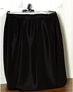 Carnation Home Fashions Lauren Dobby Fabric Sink Skirt, 56-Inch by 32-Inch, Black