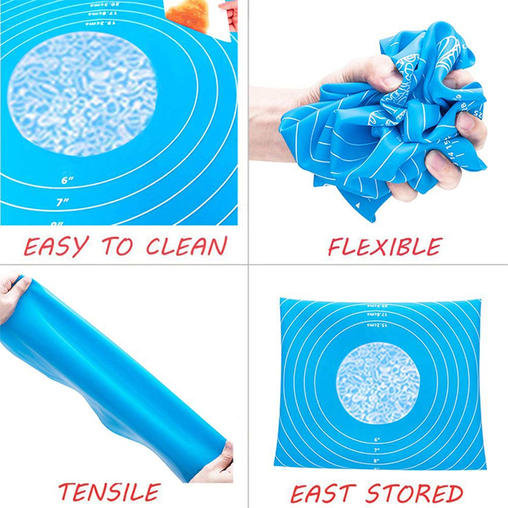 50CM(Azul) Antiadherente Estera de Silicona para Hornear,Tapete de Silicona para amasar y Hornear ,,Almohadilla de Mesa para Pasta Reutilizable 70