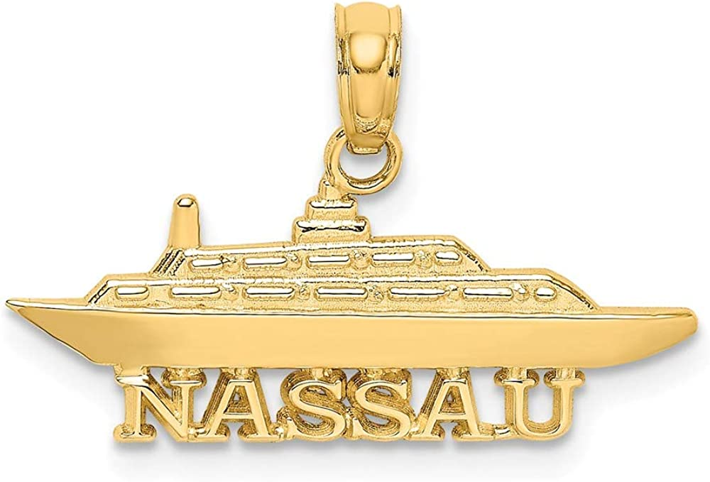 FB Jewels 14K Yellow Gold Nassau Under Cruise Ship 2D Pendant