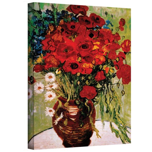 Art Walls Red Poppies and Daisies Gallery Wrapped Canvas by Vincent Van Gogh,