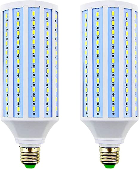 2 Pack MD Lighting 40W E27 LED Corn Light Bulbs 165 LEDs 5730 SMD 3300lm COB Light Lamp Ultra Bright Daylight White 6000K LED Bulb 340 Watt Equivalent for Backyard Barn Workshop Large Area 85V-265V