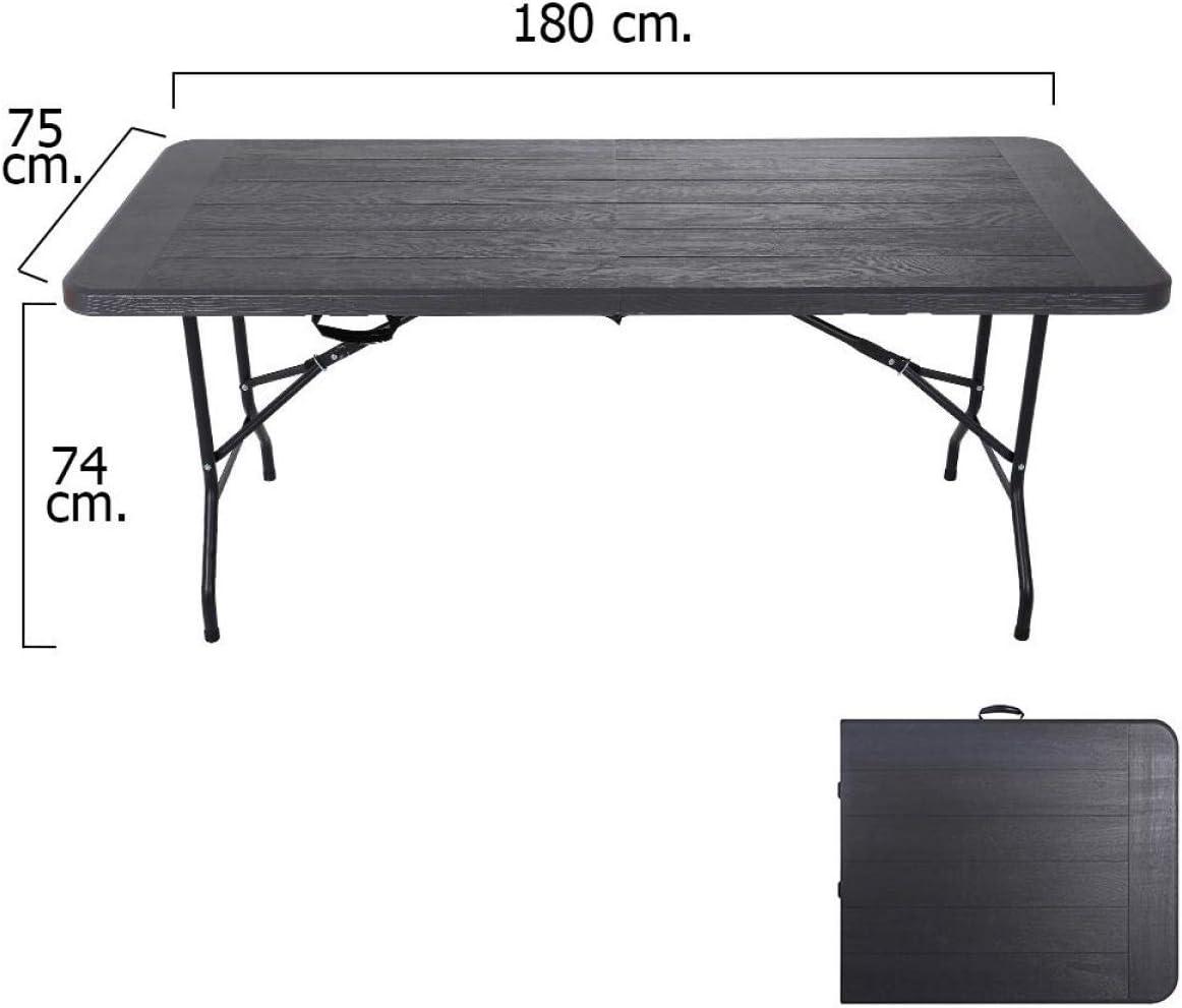 PAPILLON 8043806 Mesa Plegable Rectangular Gris Antracita 180 x 75 x 74 cm
