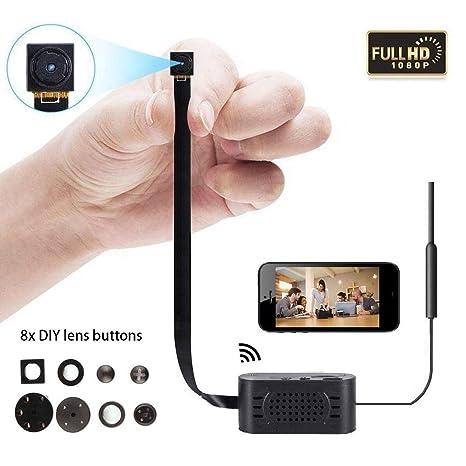 Cámara oculta con WiFi - Tarjeta SD con soporte de 1080P de hasta 128 G, mini cámaras ...