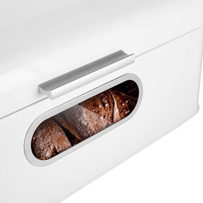 MVPOWER Panera Metálica con Tapa 42.3 x 22.7 x 16cm Caja de Almuerzo Retro y Diseño Vintage en Blanco, Caja de Metal para Almacenar el Pan