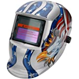 Z ZTDM Welding Helmets Pro Solar Auto Darkening Silver Eagle Skull,Adjustable Shade Range 4/9-13 Weld/Grinding Welder Protective Gear Arc Mig Tig,CE EN379 ANSI Z87.1