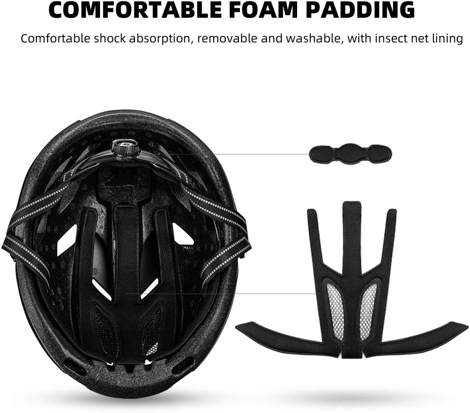 ROCK BROS Bike Helmets for Adults Bicycle Helmet Men Women Adult Lightweight Cycling Helmet for Mountain Road Bike with 3 in 1 Magnetic Removable Cover EPS Sports Safety Commuter Helmet