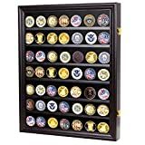 Military Challenge Coin Display Case Cabinet Rack Shadow Box Wood COIN26-BLA