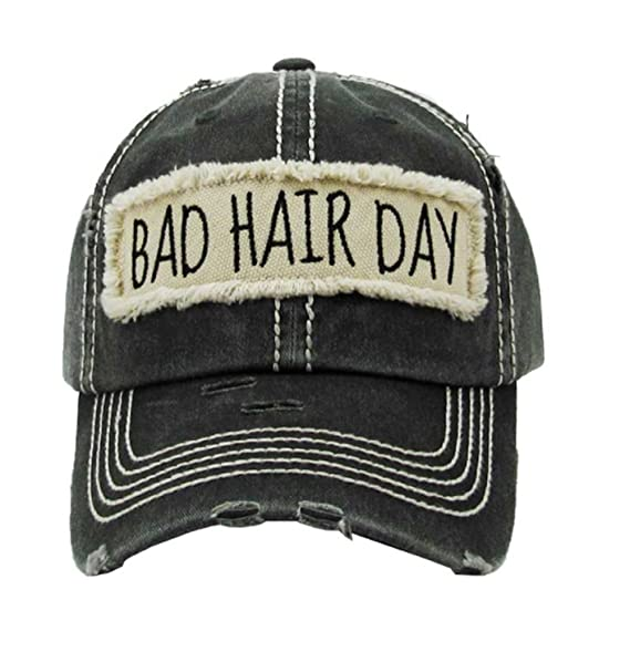 Kbethos Trading Women s Bad Hair Day Vintage Patch Baseball Hat Cap (Black) 7a06ae0047c