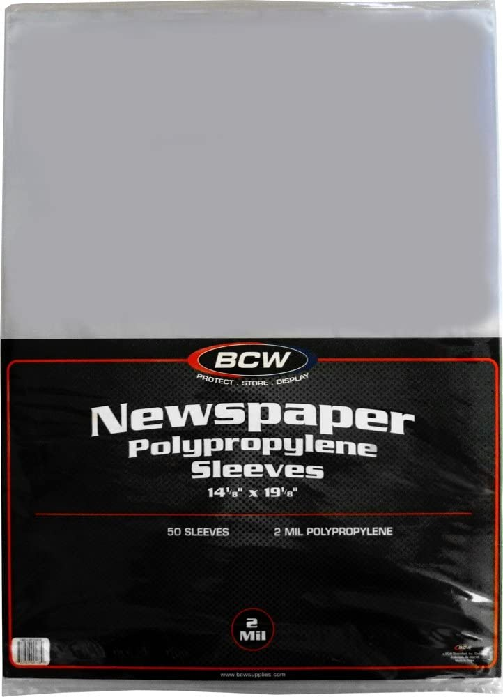 "(50) Newspaper Sleeves - 14-1/8"" x 19-1/8"" - BCW Brand 61rW02QKI2BL"