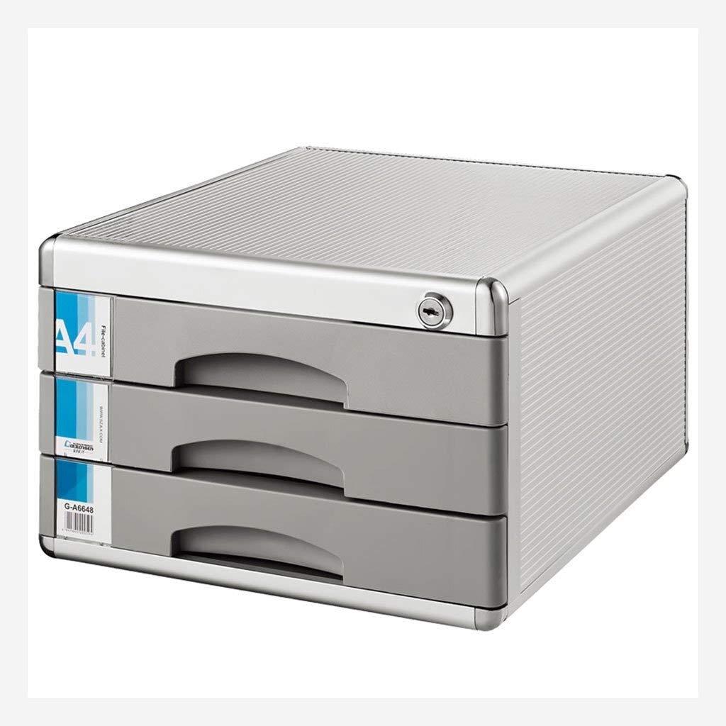 SZHXH Filing Cabinet Desktop File Cabinet Aluminum Alloy 3-Layer Storage Box Drawer Lockable Home Office Data Office Desktop Drawer Organizer by SZHXH