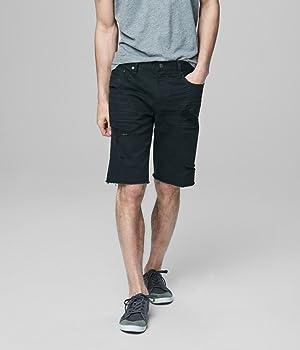 Aeropostale Men's Destroyed Wash Reflex Denim Cutoff Shorts 42 Black