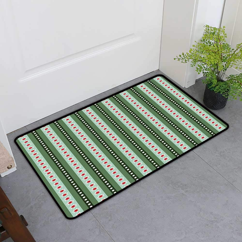 TableCovers&Home Commercial Door Mat, Geometric Custom Out-Imdoor Rugs for Kitchen, Pale Vertical Lines in Various Sizes with Dots and Star Shapes (Reseda and Almond Green Red, H36 x W60)