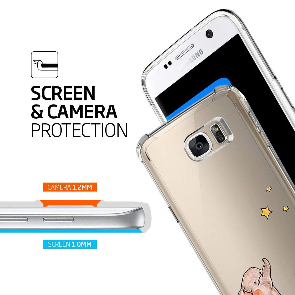 Compatible for Samsung Galaxy S6 Edge Case Floral Clear Transparent Case with TPU Bumper Case Cover for Galaxy S6 Edge
