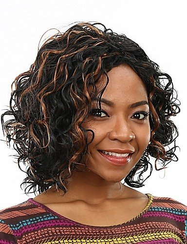 JIAYY peluca pelo falso pelucas sintéticas resistentes al calor rizado económicas para las mujeres negras ,