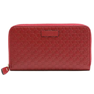 be1025a09310 (グッチ) GUCCI 長財布 ラウンドファスナー OUTLET マイクログッチシマ (レッド) 449391 BMJ1G