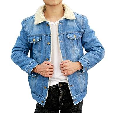 647f13751577 iBaste Jeansjacke Herren Gefüttert Winterjacke mit Fleece Baumwolle Jacke  Regular Fit Denim Coat Männer Outwear