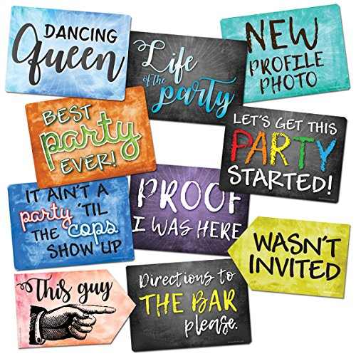 Plastic Photo Booth Prop Signs - Set of 10 Phrases - PARTY Mix]()