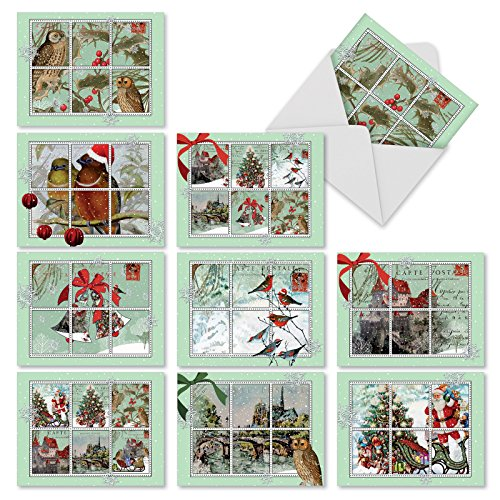 - M9629XSB Merry Mail: 10 Assorted Blank Christmas Note Cards Feature Images of Winter and Holiday Scenes from Vintage Postcards, w/White Envelopes.