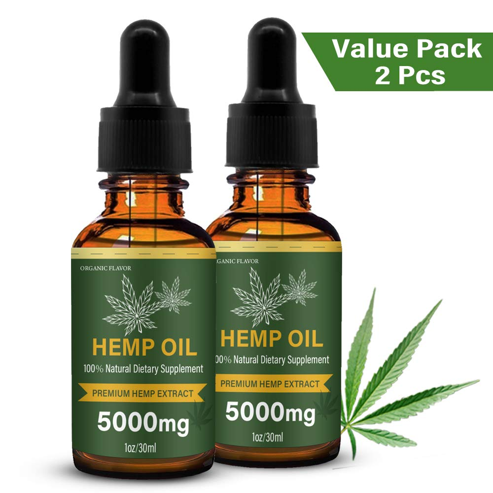 (2 Pack) Hemp Oil Drops - 5000MG - for Pain & Anxiety Relief, Mood Support, Pure Natural Organic Full Spectrum Extract …