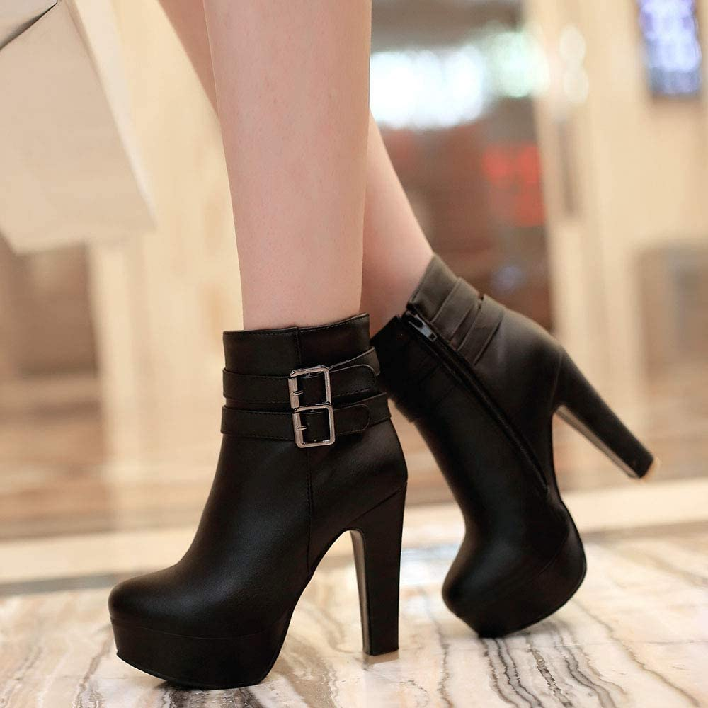 FANIMILA Ladies High Heels Boots Ankle High Dress Boots Women Round Toe Platform Boots Party