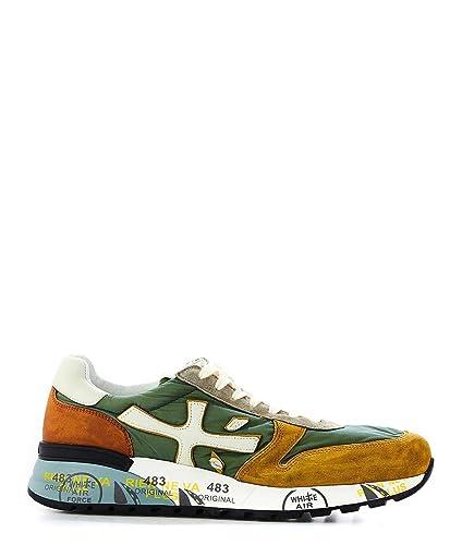 taglia 40 1cc13 6c4b2 Amazon.com | Premiata Men's MICK3754 Green Leather Sneakers ...
