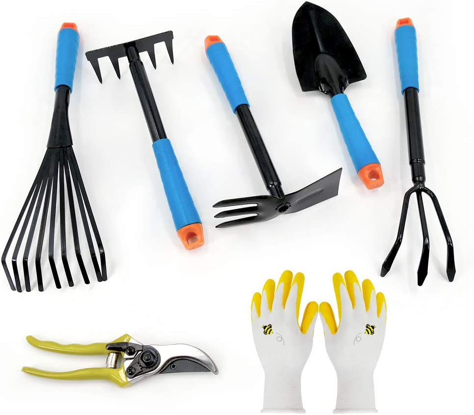 Hortem 7PCS Garden Hand Tools Set- Durable Gardening Tools Including Trowel, Cultivator, Fork, Rake, Two Way Hoe, Bypass Pruners and Garden Gloves, Gardening Gifts for Men Women