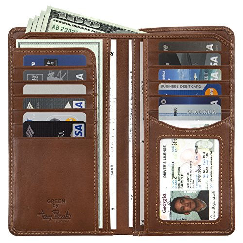 CUSTOM PERSONALIZED INITIALS ENGRAVING Tony Perotti Mens Italian Cow Leather Bifold Breast Pocket Wallet with ID Window in Cognac (Personalized Breast)