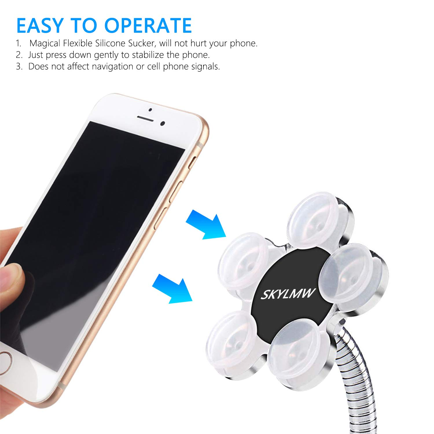 Magic Sucker Cell Phone Holder,SKYLMW Pocketable 360 Degree Rotatable Multi-Angle Dashboard Car Use Metal Flowers Suction Cup Mount Stand for Universal Mobile Phone More,One-Sided Viscose//Silver